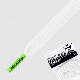Laces Mr Lacy Flatties - White/Neon Green Tip